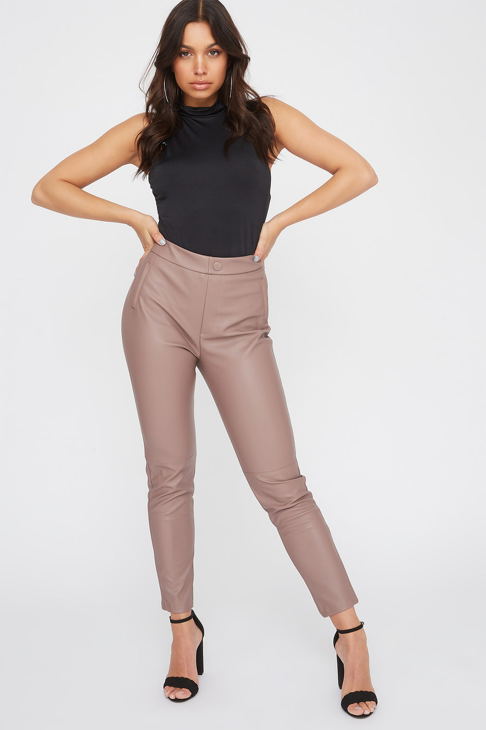 Faux-Leather One Side Zip Legging Mauve