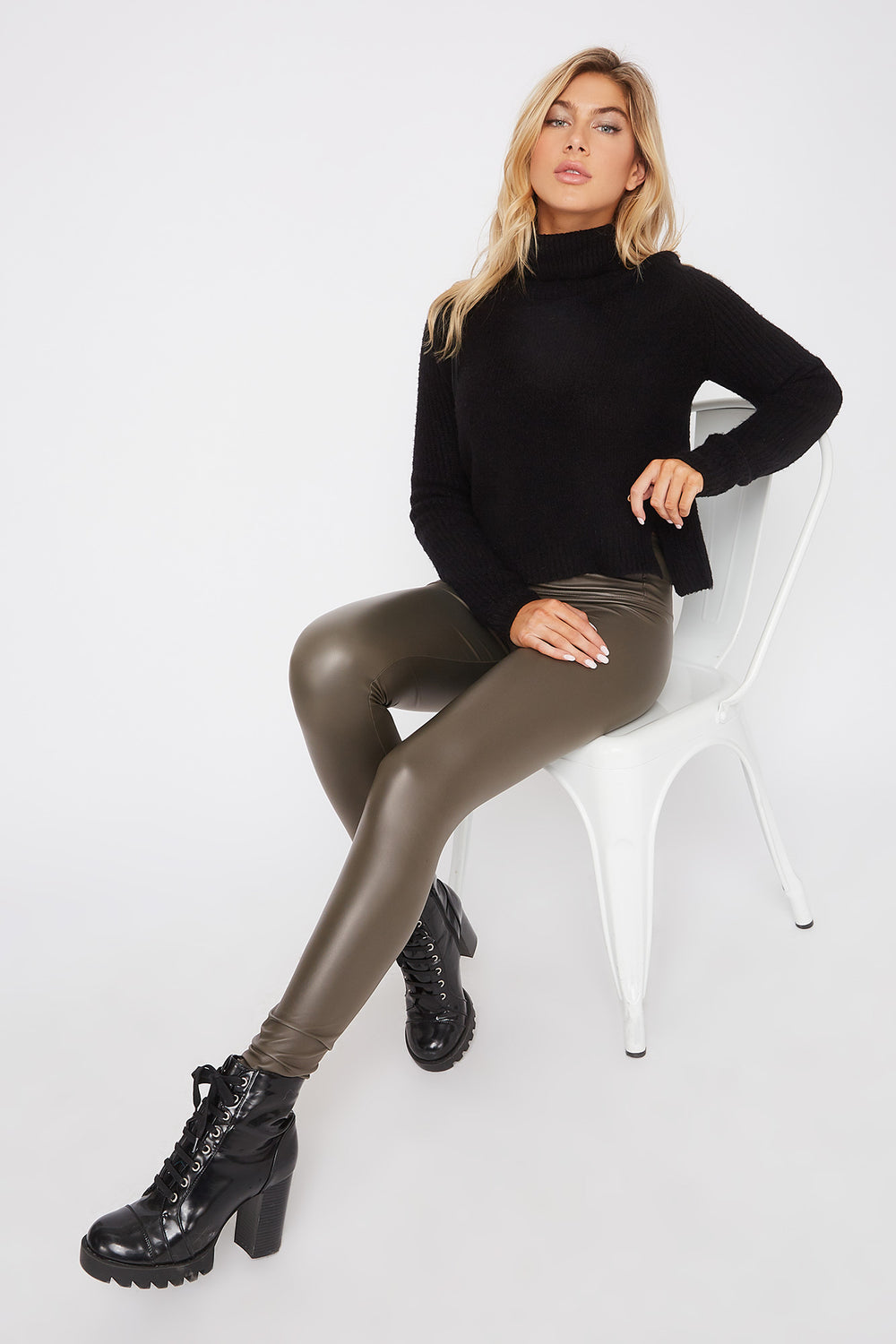 Matte Faux-Leather Legging Dark Green