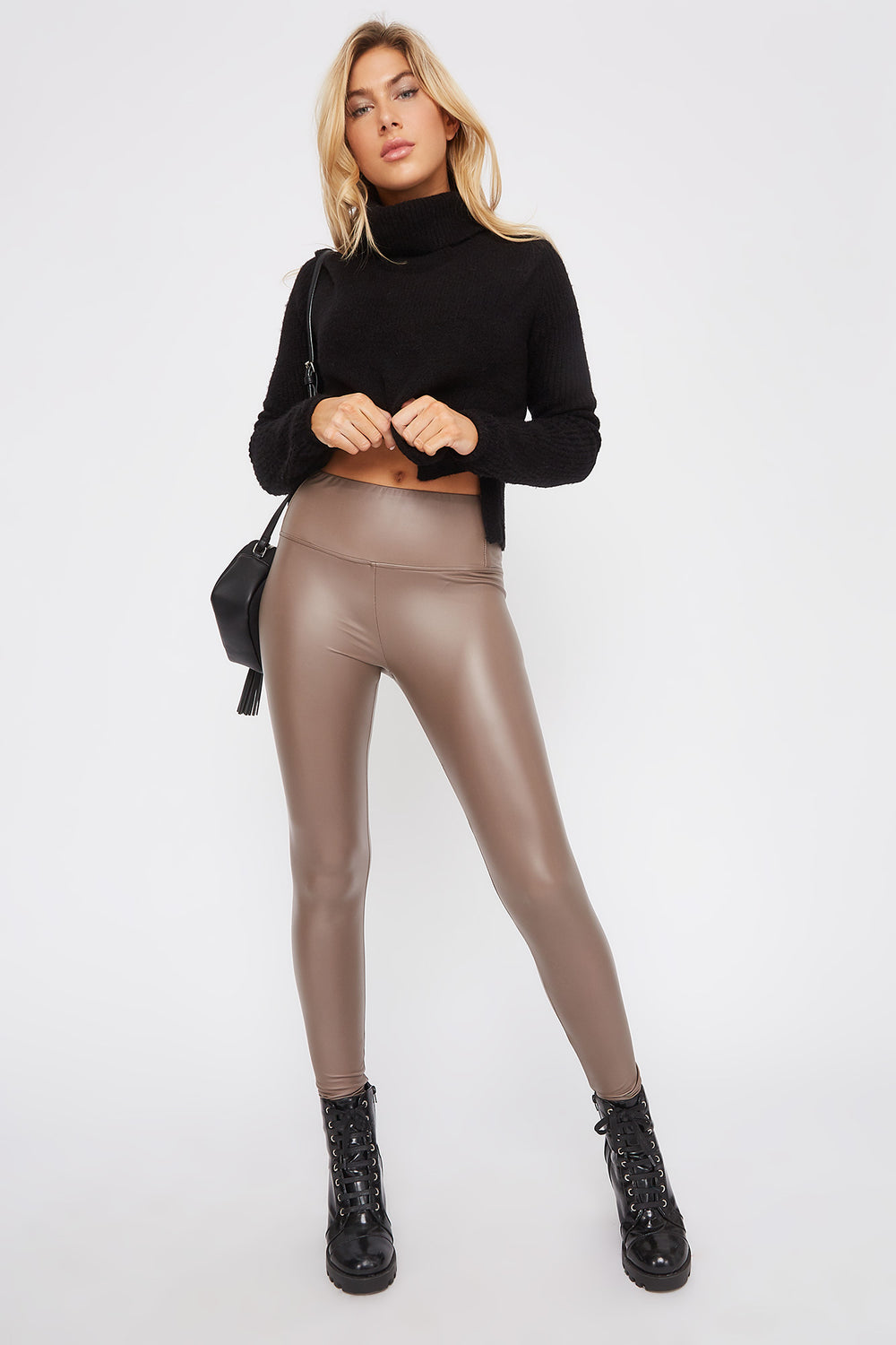 Matte Faux-Leather Legging Taupe