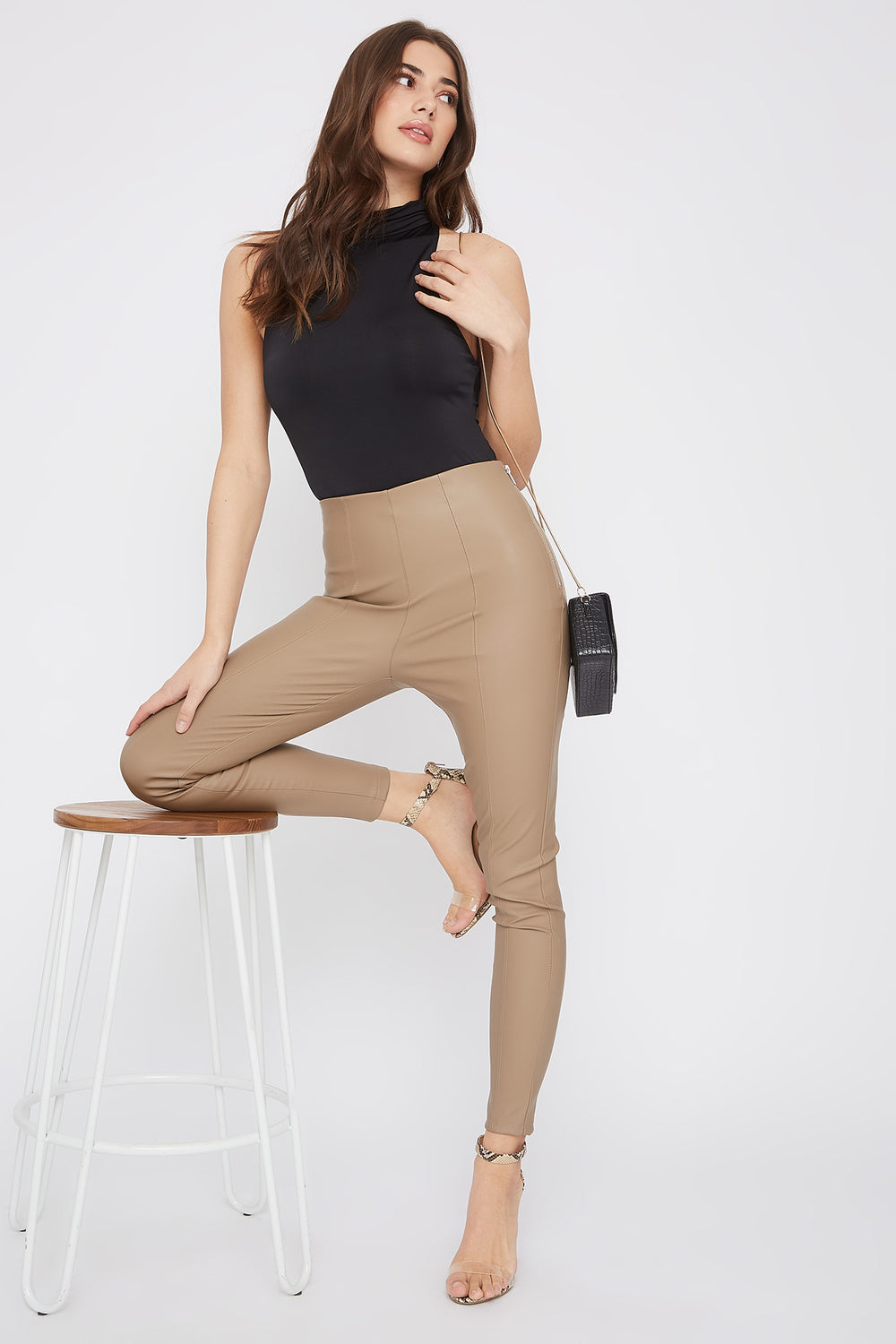 Faux-Leather Side Zip Skinny Pant Tan
