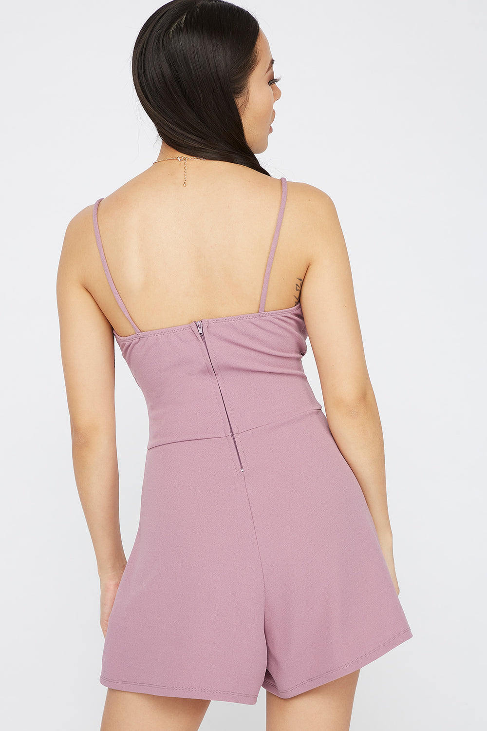 V-Neck Crossover Cut Out Romper Lilac