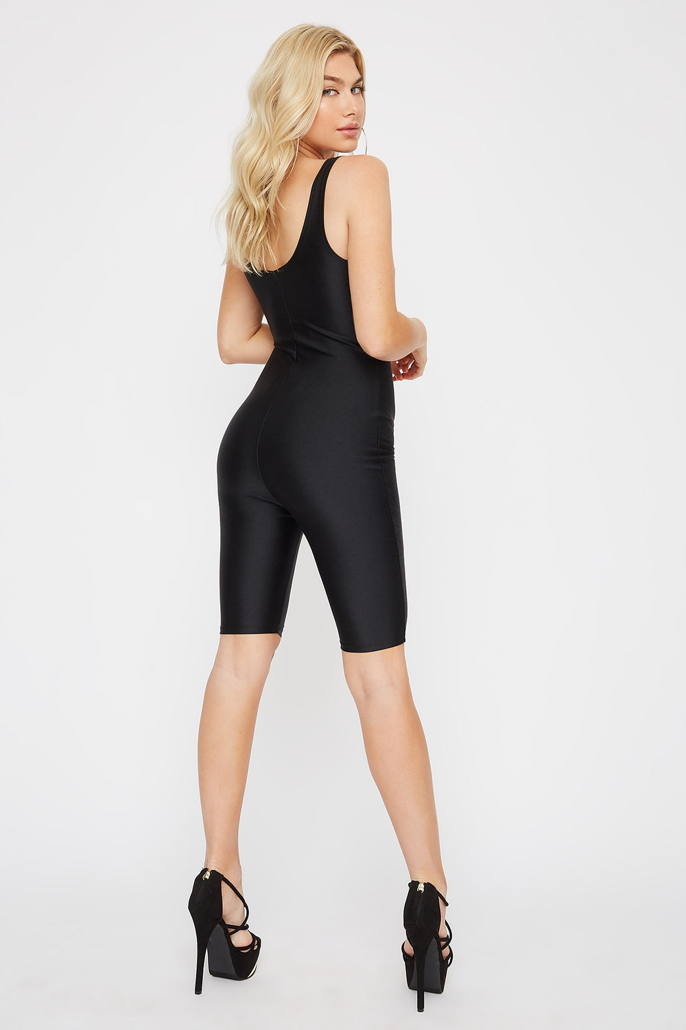 Crystal Scoop Neck Cut-Out Unitard Black