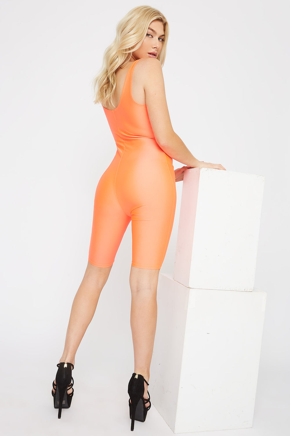Crystal Scoop Neck Cut-Out Unitard Neon Orange