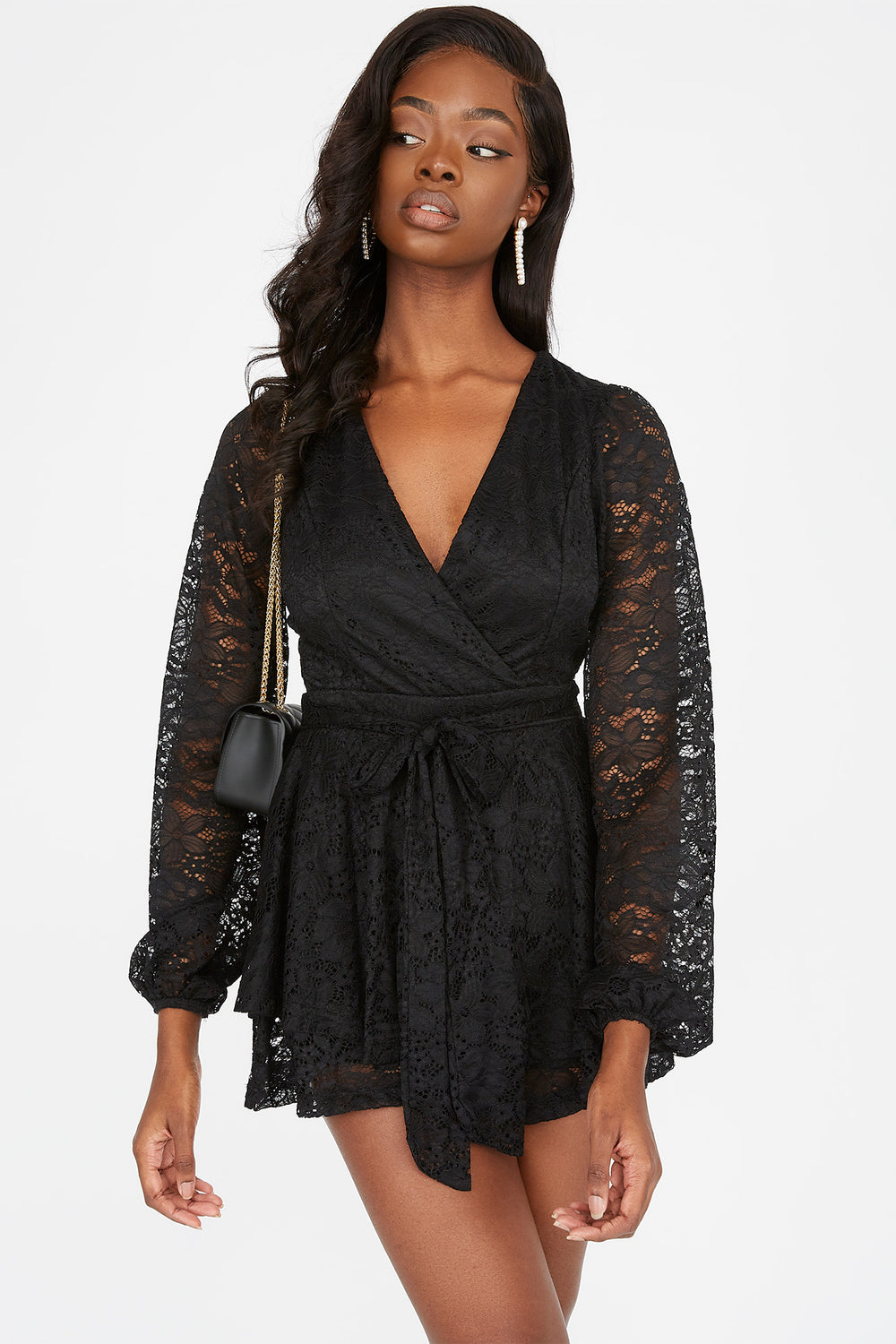 Lace Surplice Self-Tie Belted Romper Black