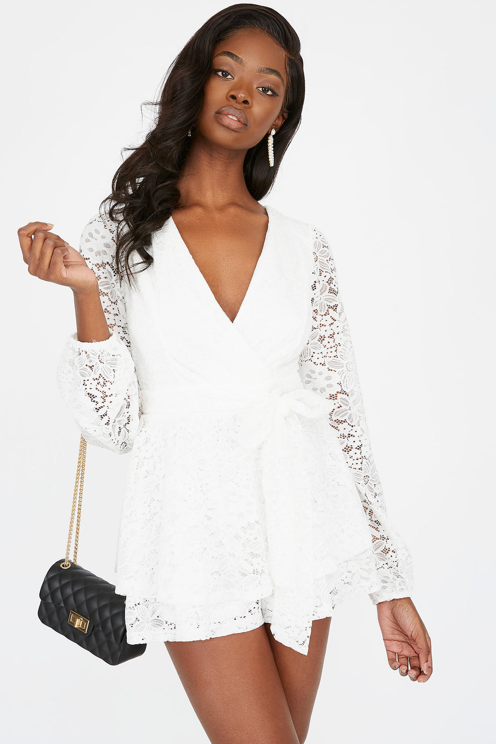 Lace Surplice Self-Tie Belted Romper Ivory