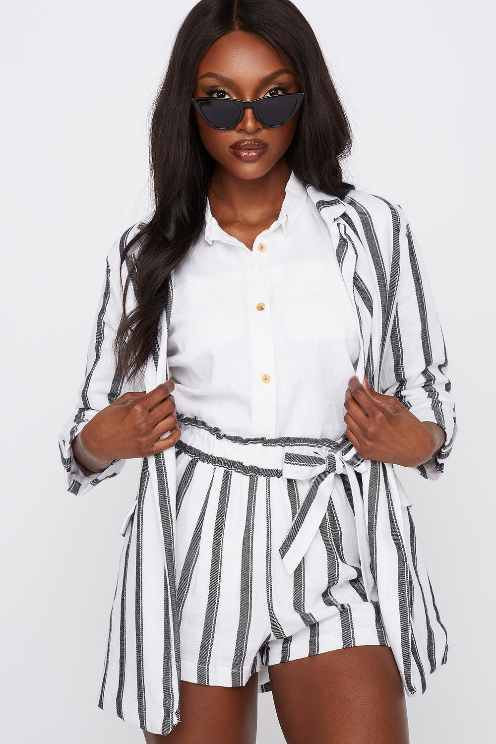 Striped Linen Open Front Blazer Assorted
