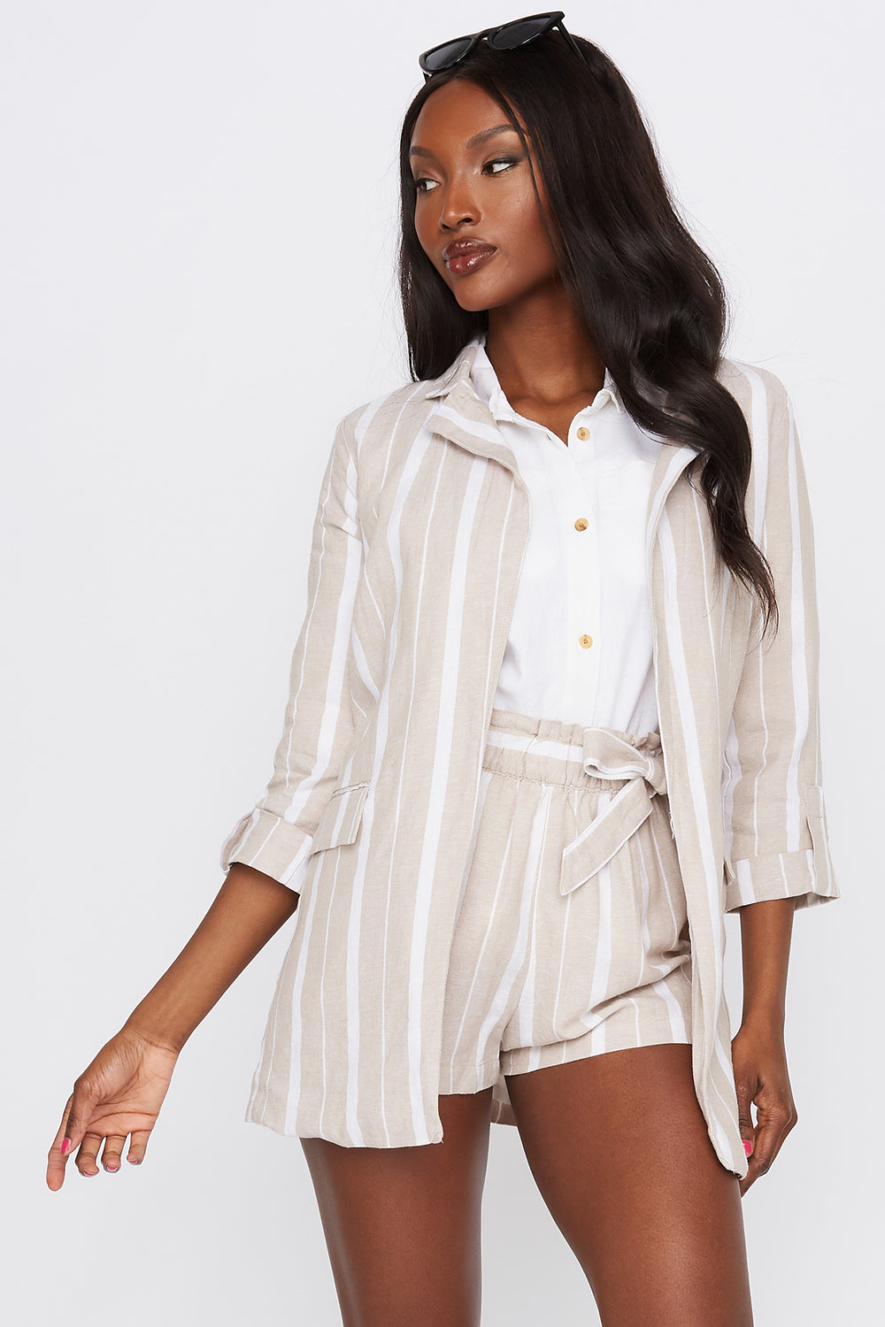 Striped Linen Open Front Blazer Multi