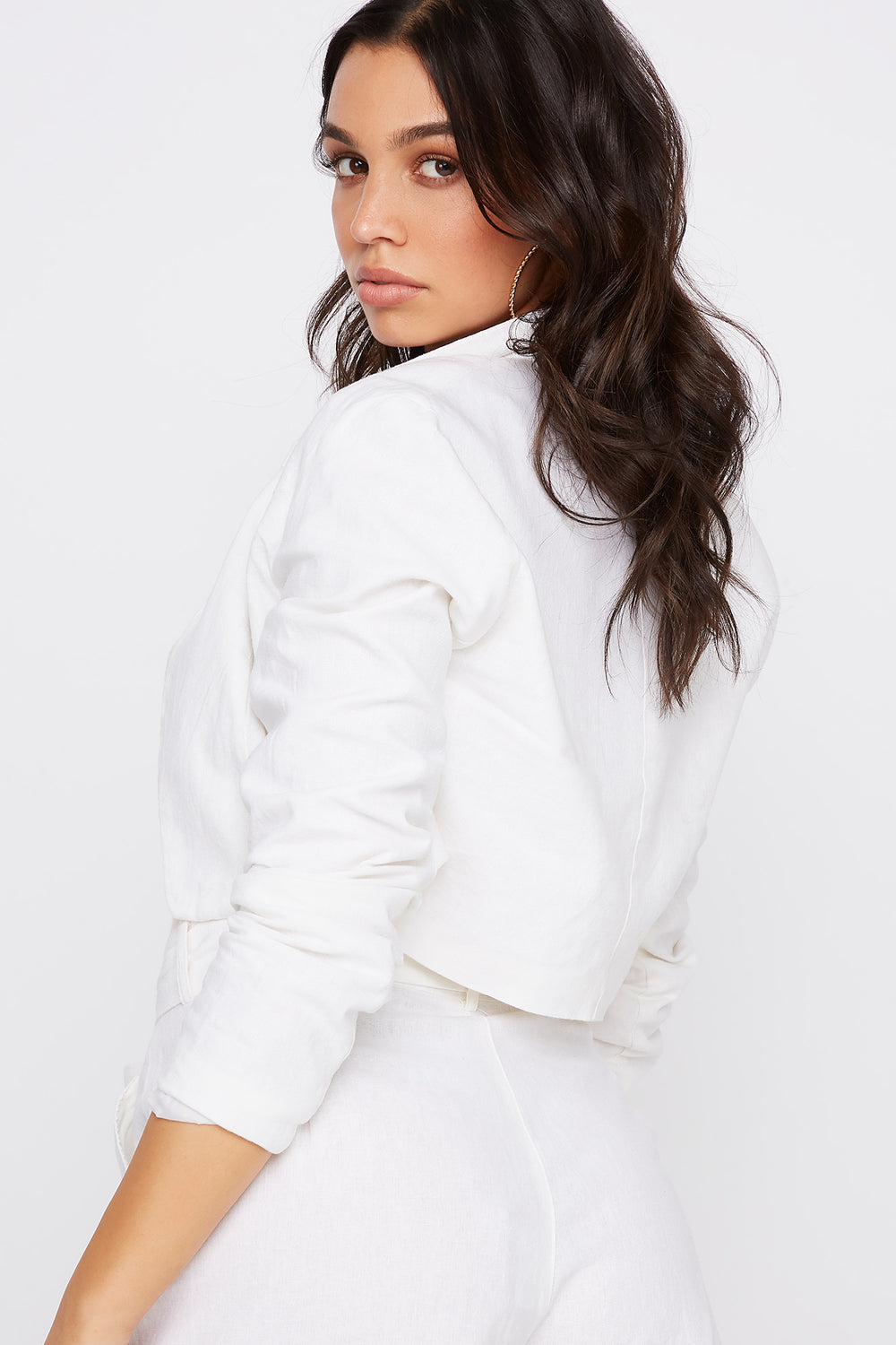 Cropped Open Front Linen Blazer White