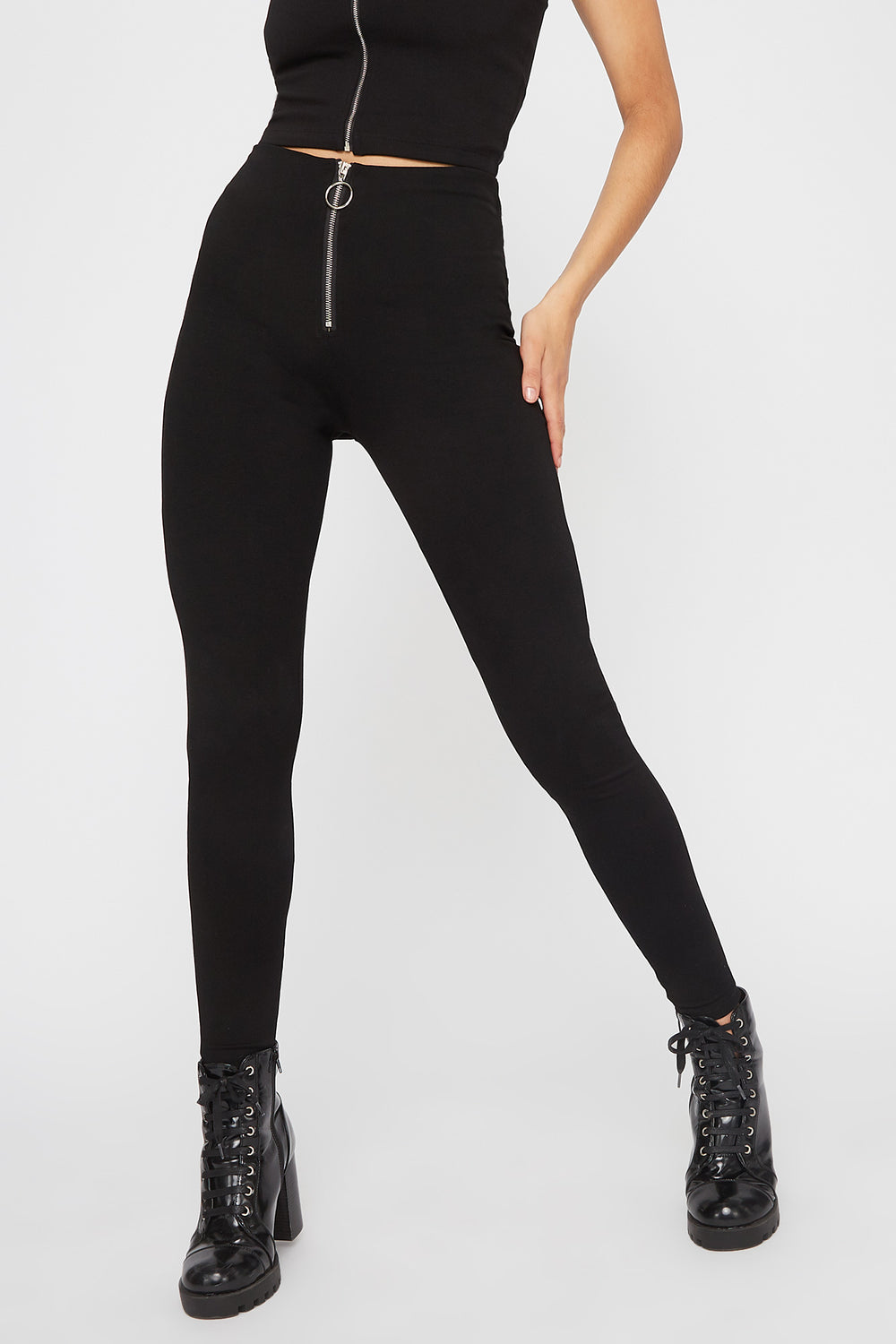 Zip-Up Pull-On Pant Black