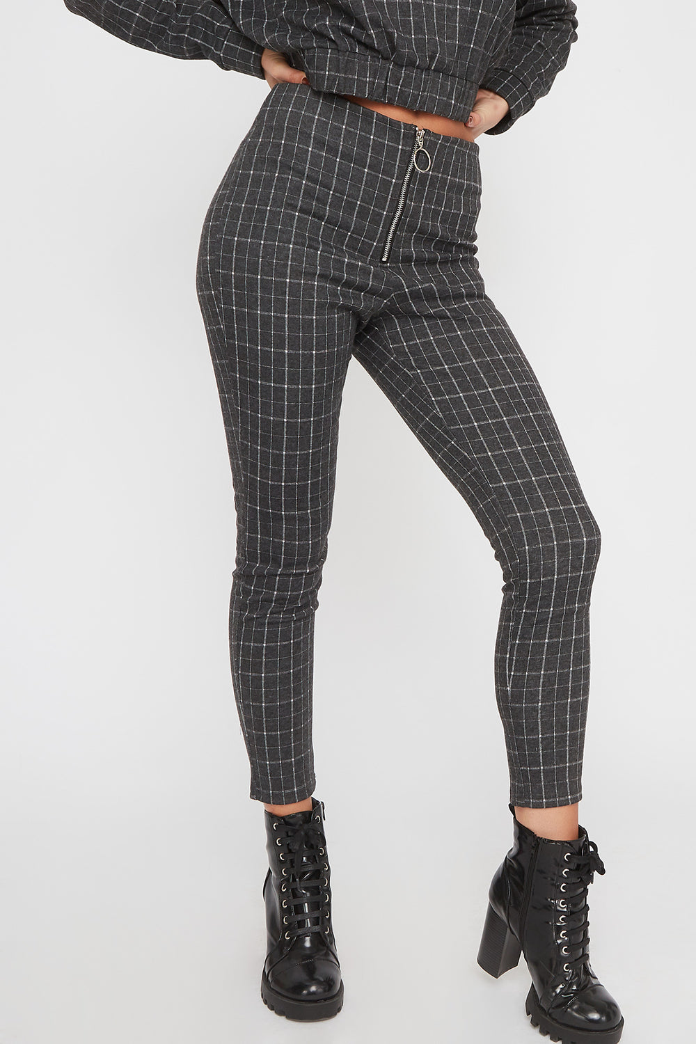 Patterned Zip-Up Legging Heather Grey