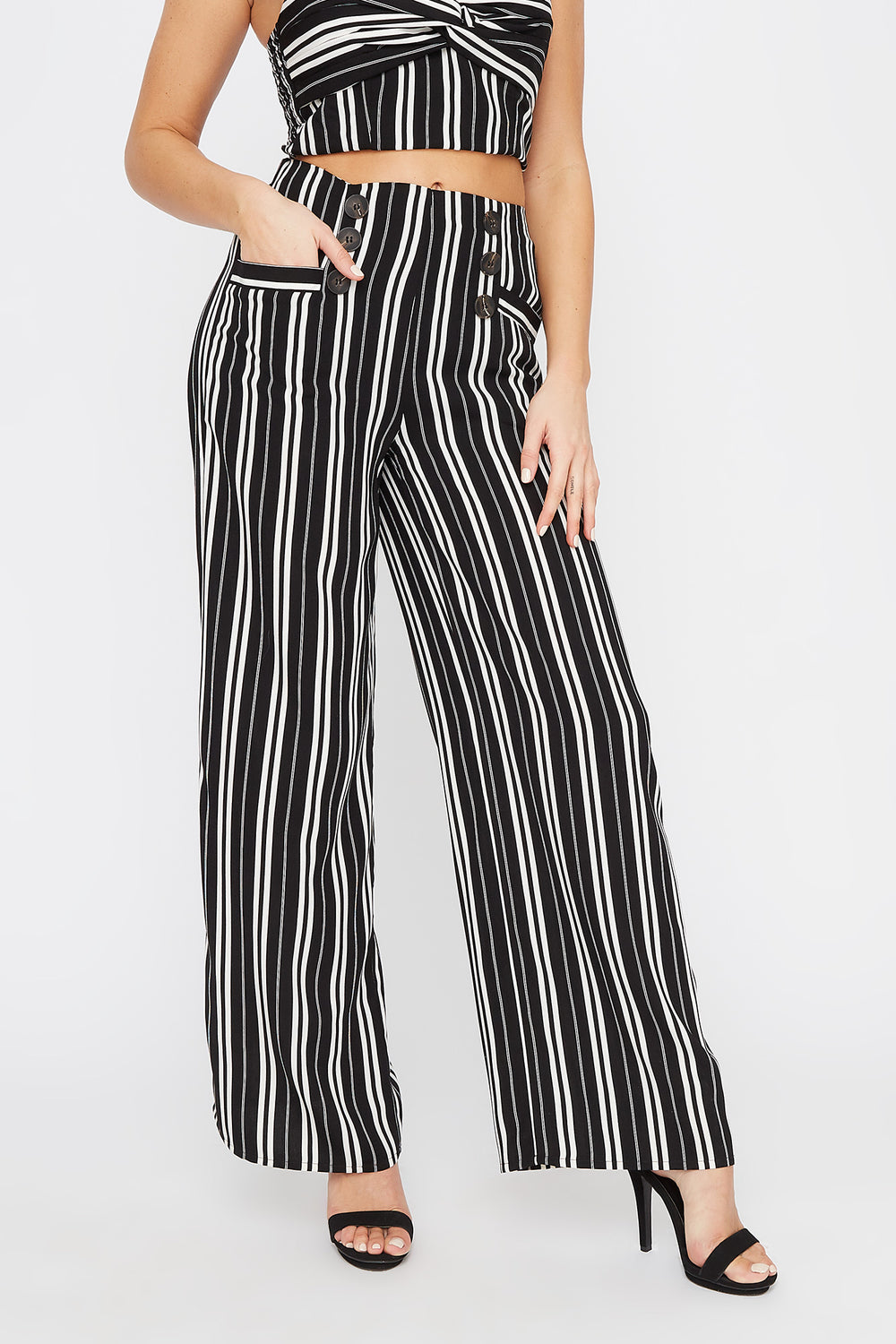 Double Button Wide Leg Pant Black