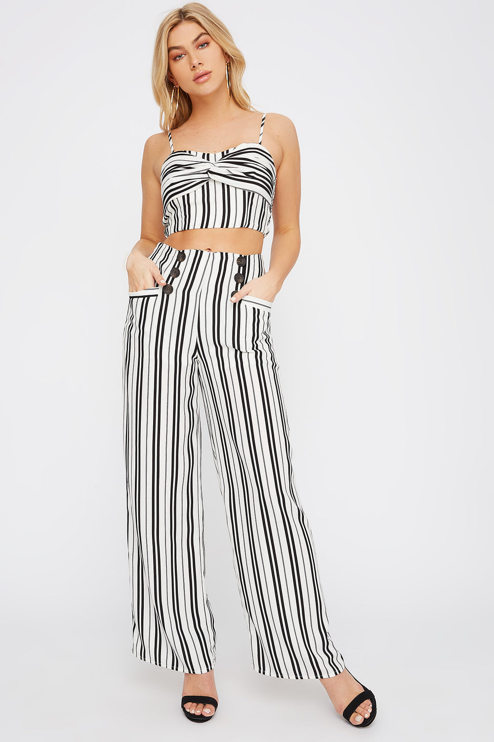 Double Button Wide Leg Pant White