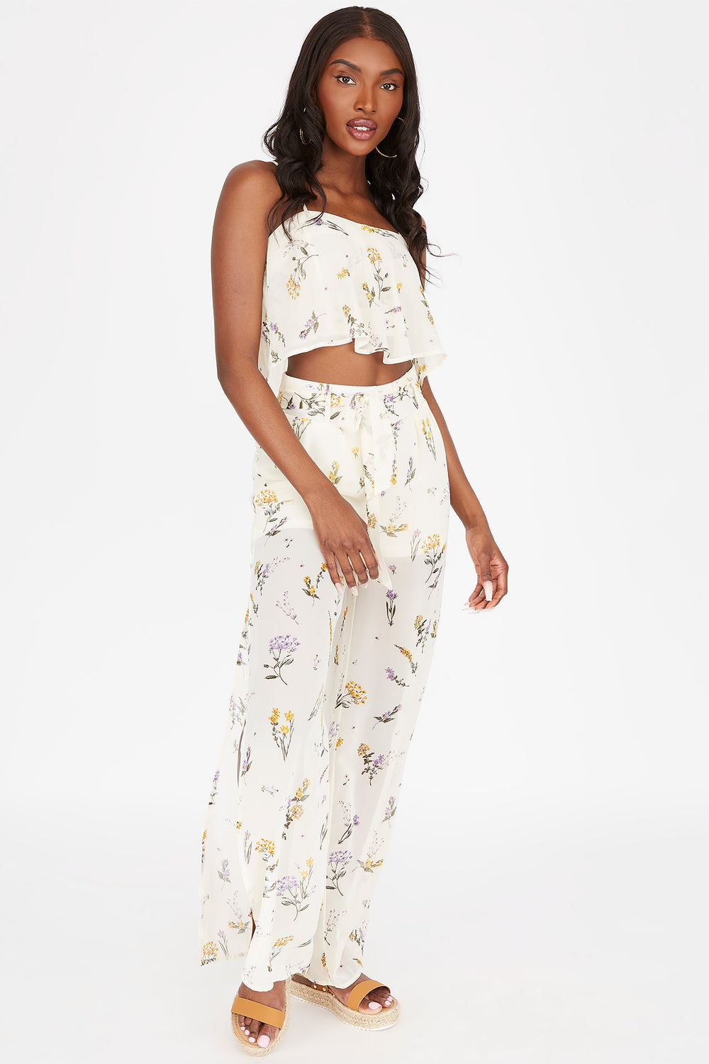 Floral Self-Tie Wide Leg Pant Assorted