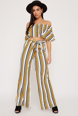 Striped High-Rise Tie Wide Leg Pant
