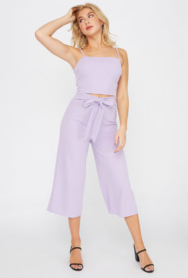 Crepe Pull-Up Self Tie Pant