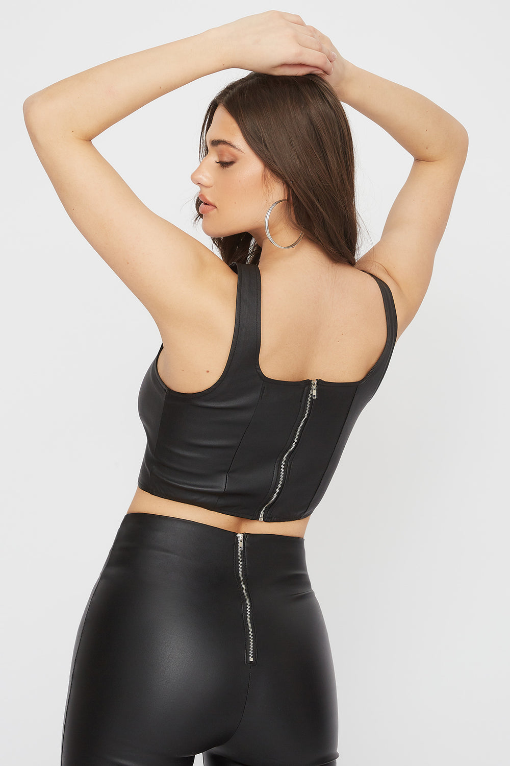 Cropped Faux-Leather Lace Up Tank Black