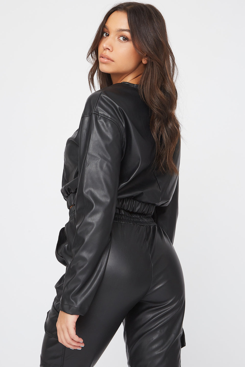 Cropped Faux-Leather Long Sleeve Shirt Black
