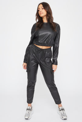 Faux-Leather Drawstring Cargo Pant