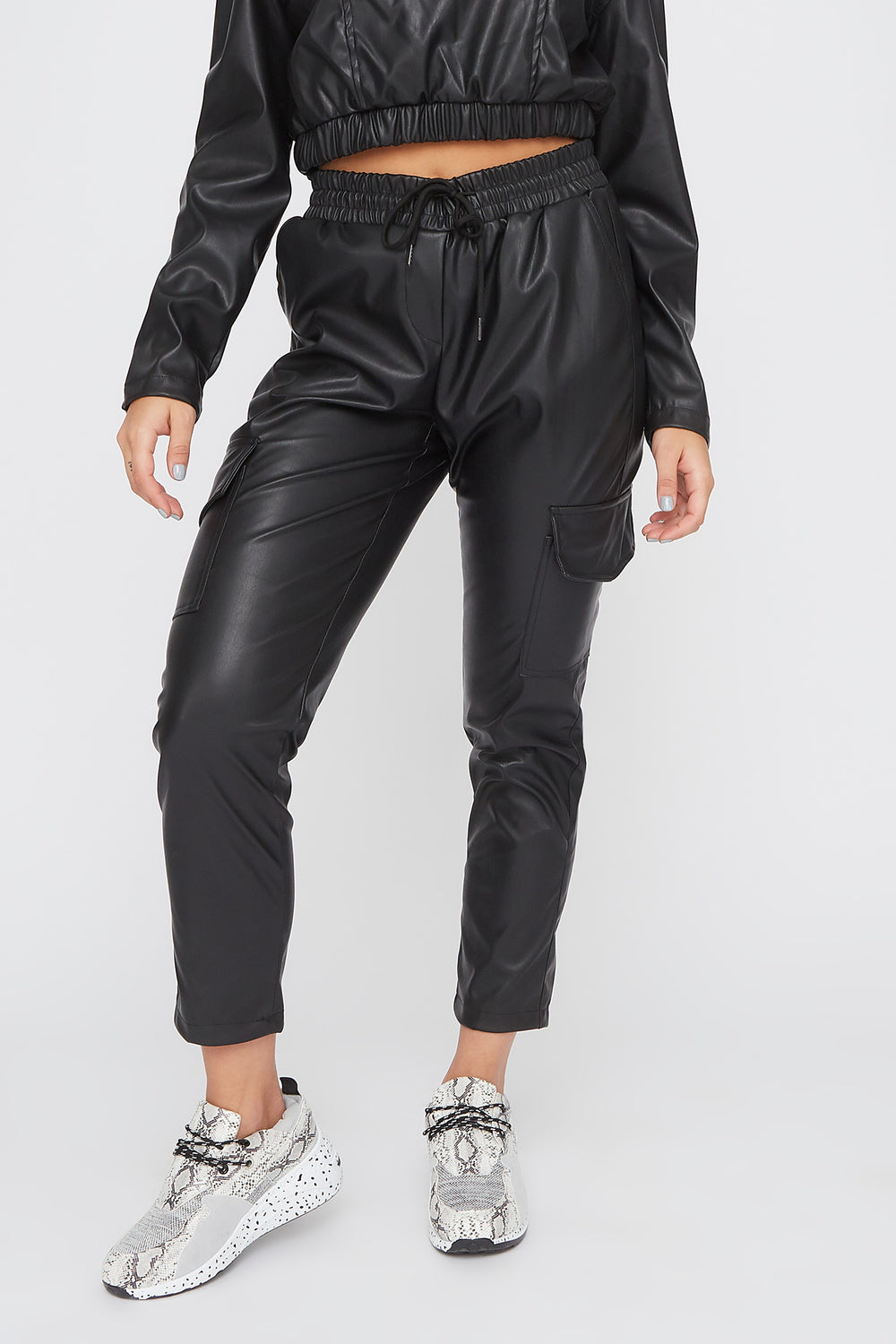 Faux-Leather Drawstring Cargo Pant Black