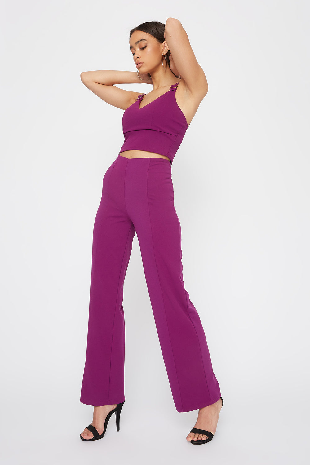 Belt Straps Cropped Tank Purple