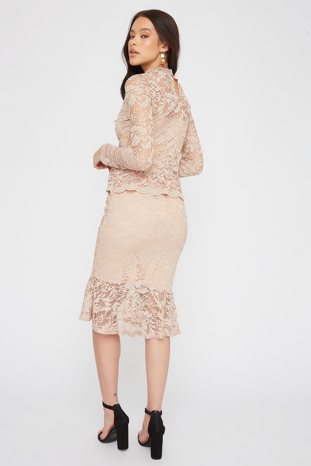 Lace Mermaid Midi Skirt Ivory