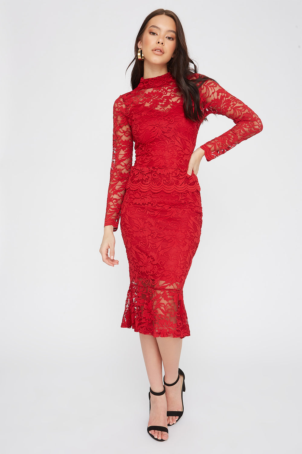 Lace Mock Neck Long Sleeve Red