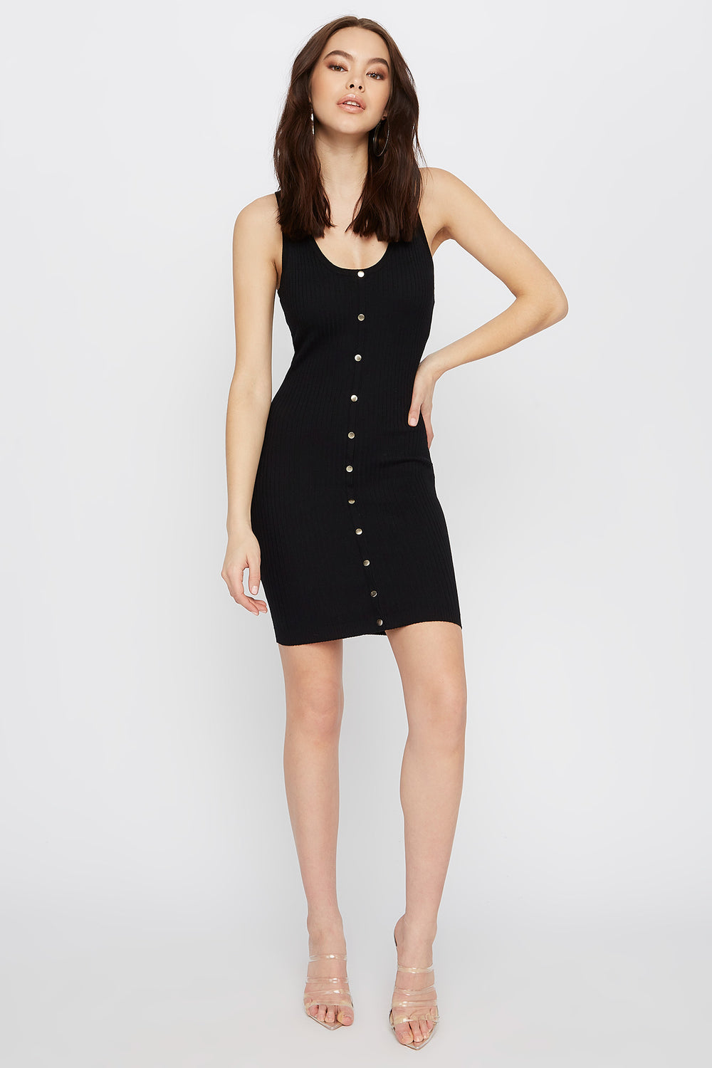Ribbed Button-Up Bodycon Mini Dress Black