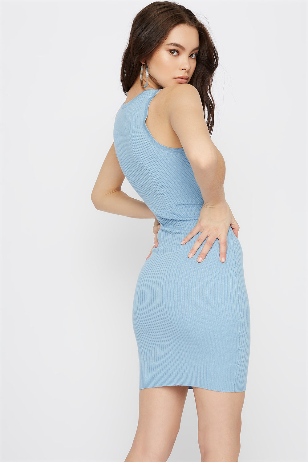 Ribbed Button-Up Bodycon Mini Dress Light Blue