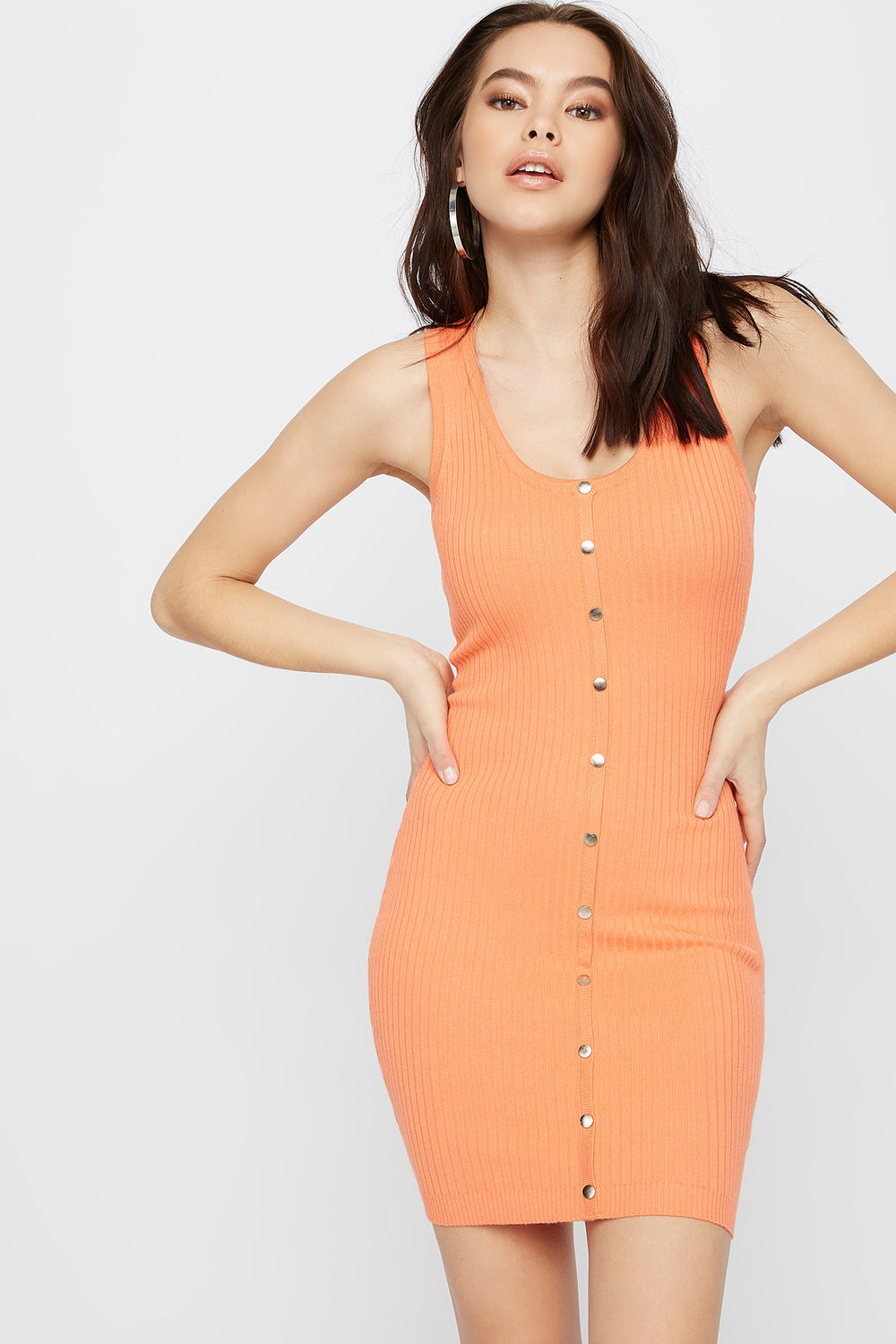 Ribbed Button-Up Bodycon Mini Dress Coral
