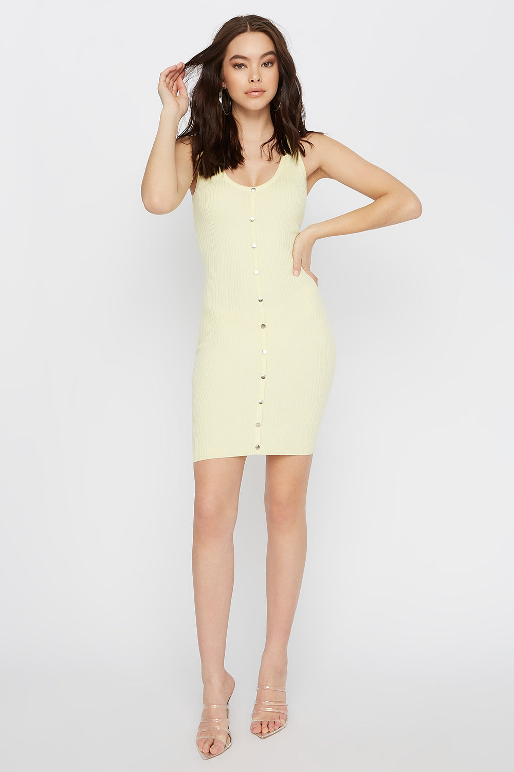 Ribbed Button-Up Bodycon Mini Dress Yellow