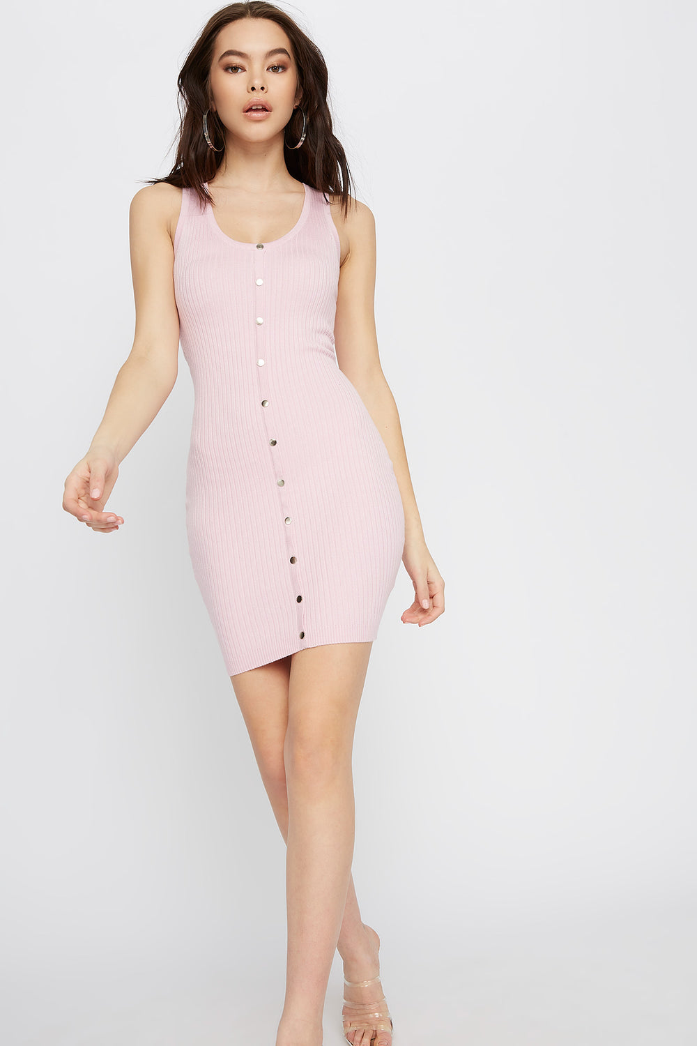 Ribbed Button-Up Bodycon Mini Dress Light Pink