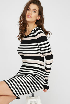 Striped Bodycon Long Sleeve Mini Dress