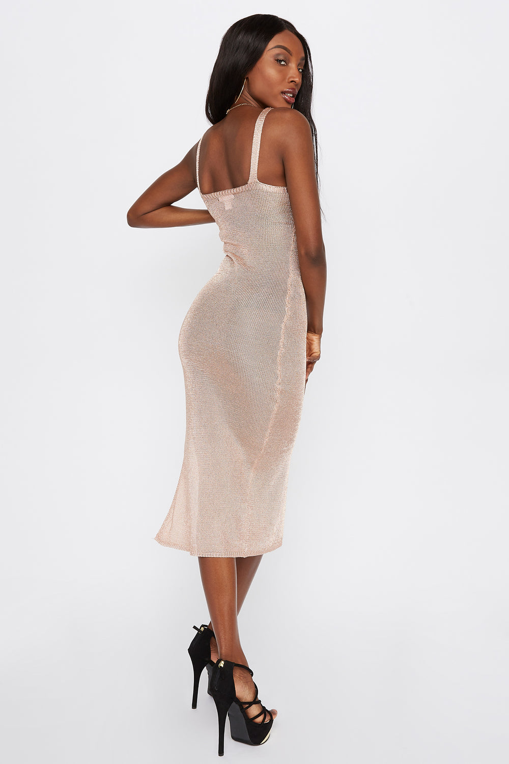 Metallic Midi Dress Rose