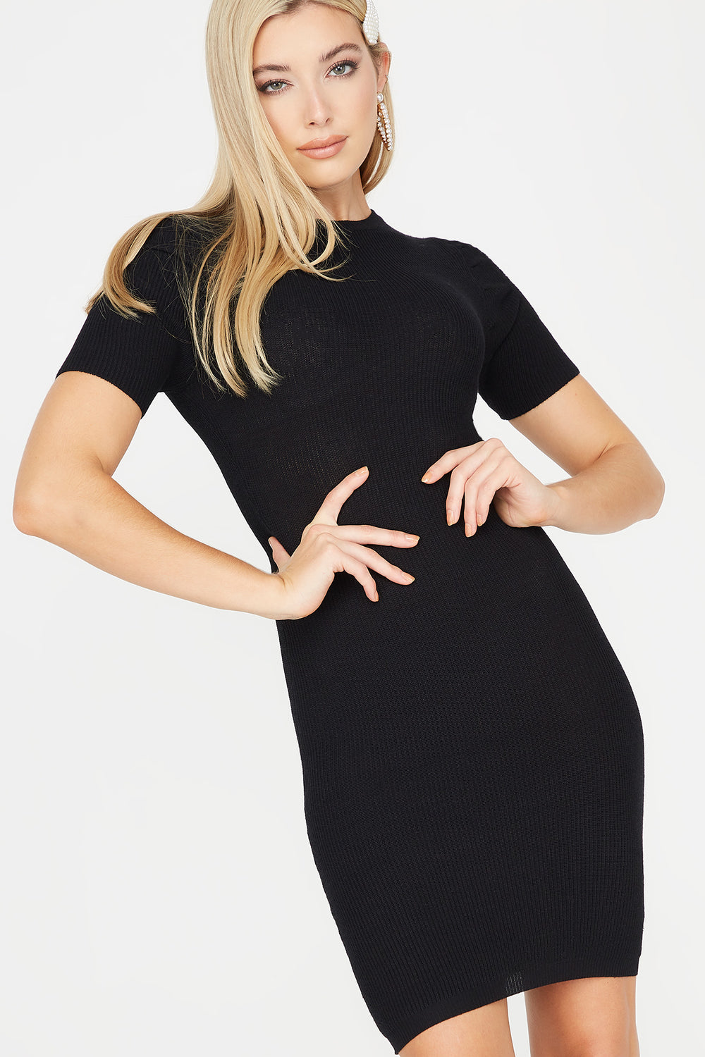 Ribbed Ruched Shoulder Midi Dress Black