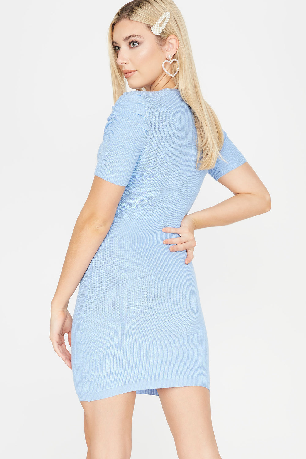 Ribbed Ruched Shoulder Midi Dress Light Blue