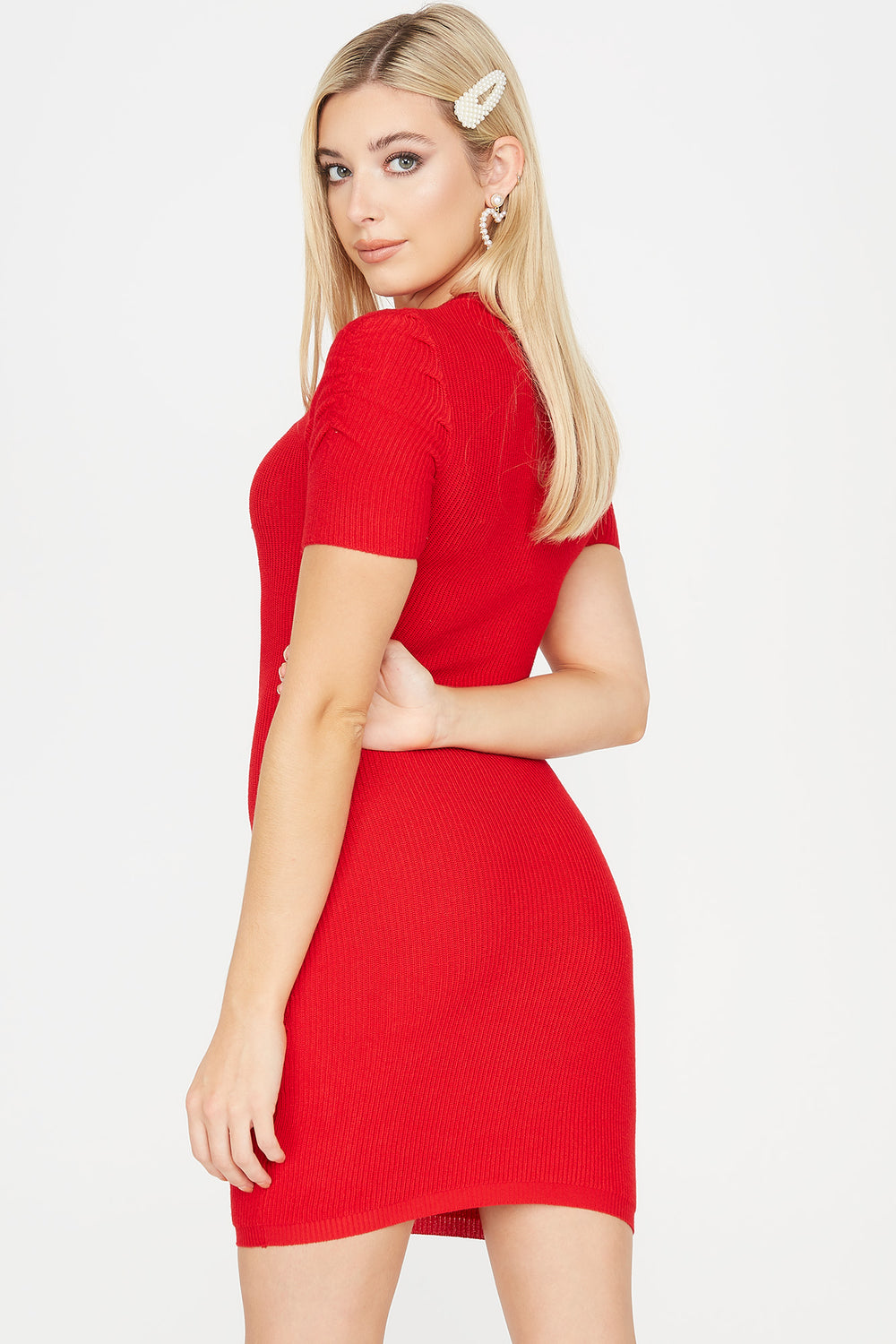 Ribbed Ruched Shoulder Midi Dress Red
