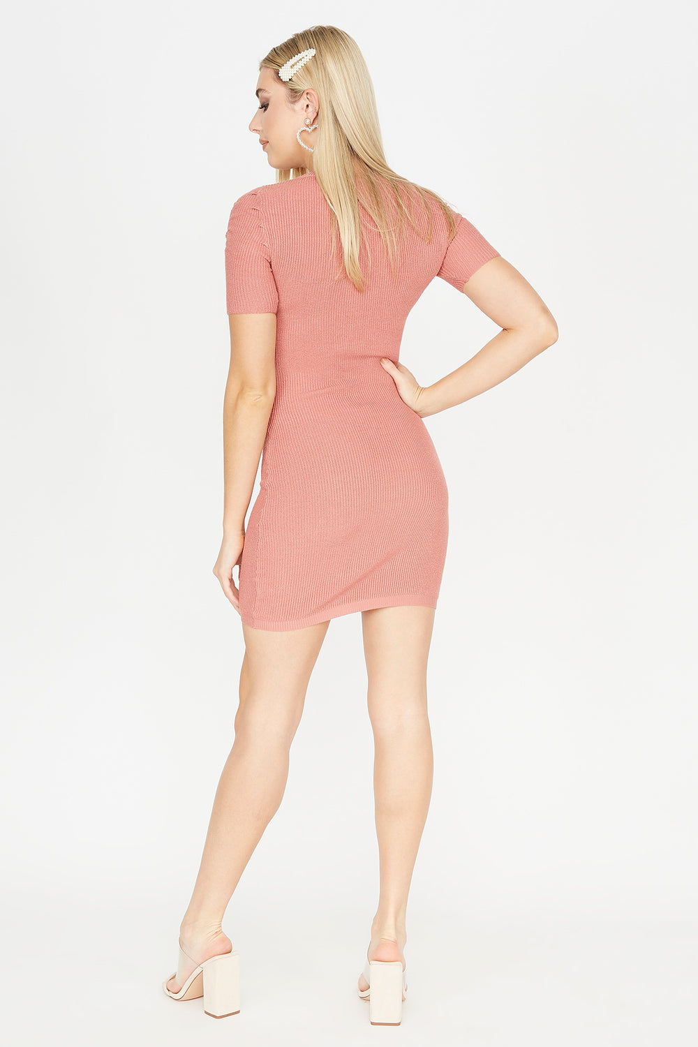 Ribbed Ruched Shoulder Midi Dress Dusty Rose