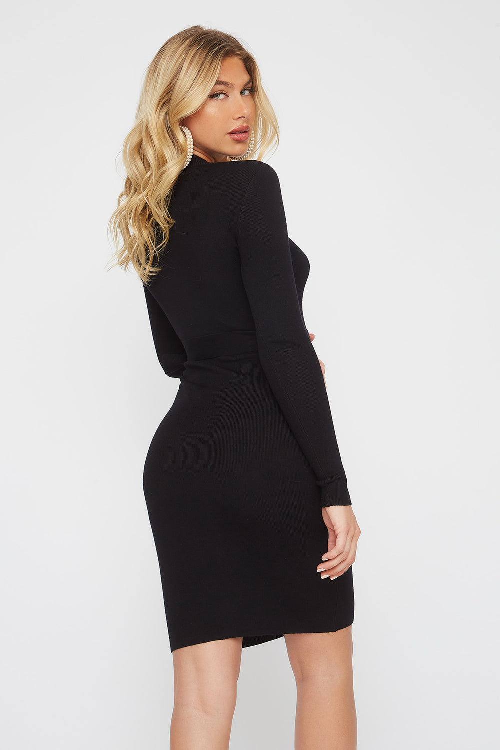 Half-Zip Pocket Belted Long Sleeve Sweater Dress Black