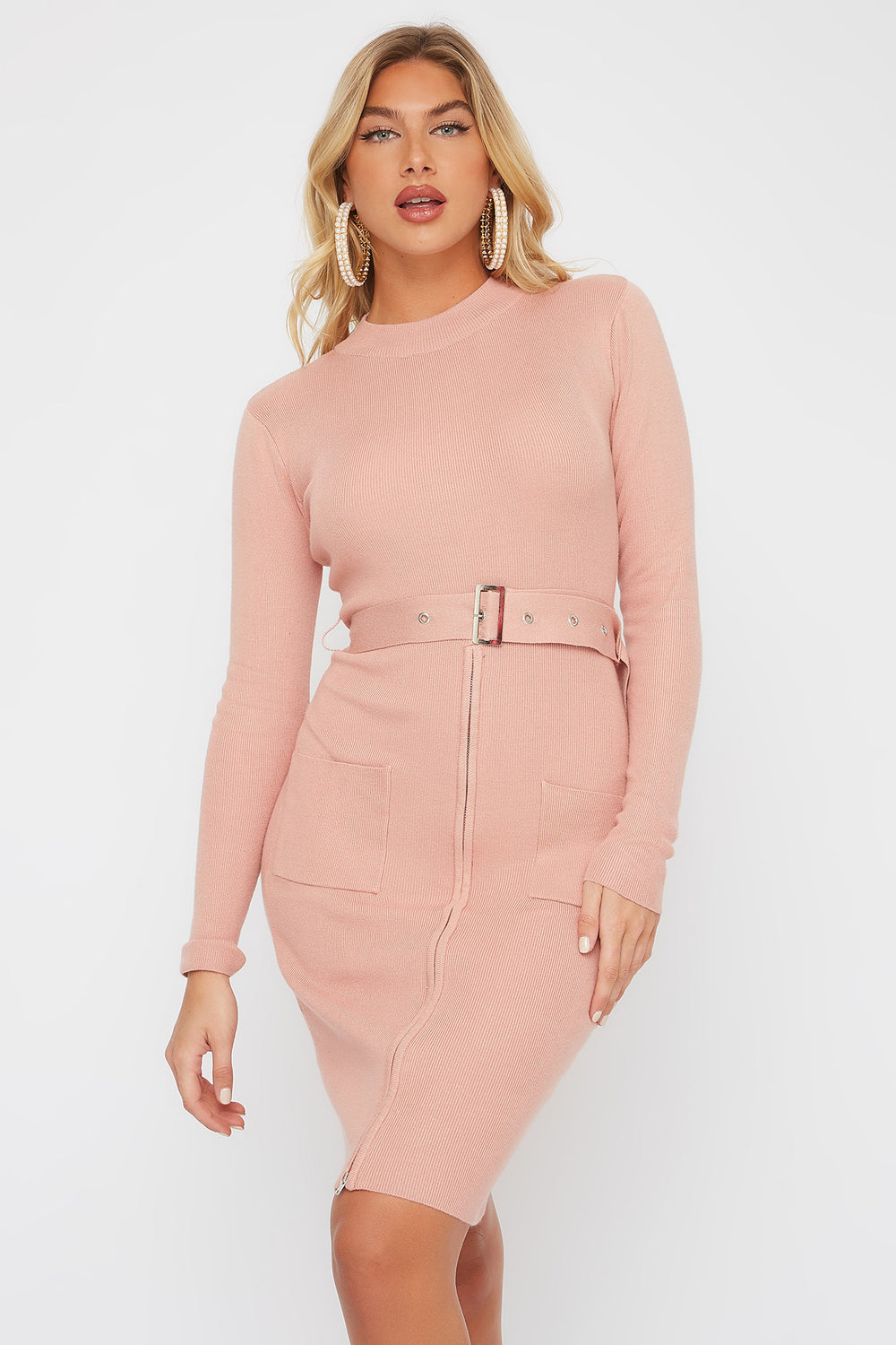Half-Zip Pocket Belted Long Sleeve Sweater Dress Pink