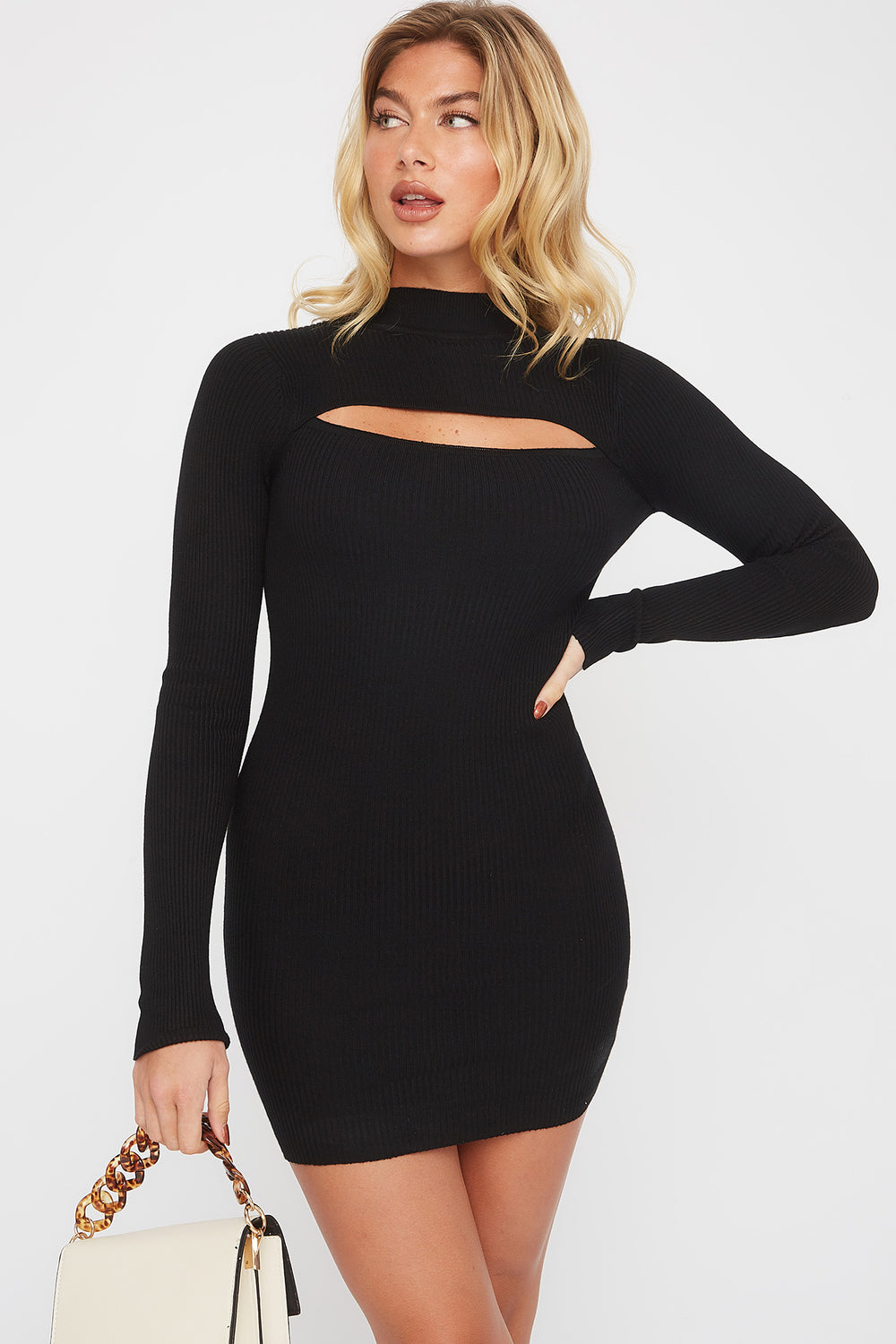 Ribbed Mock Neck Cut Out Sweater Dress Black