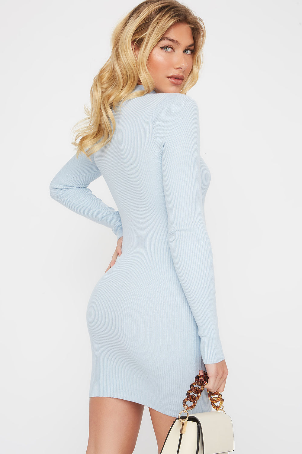 Ribbed Mock Neck Cut Out Sweater Dress Light Blue