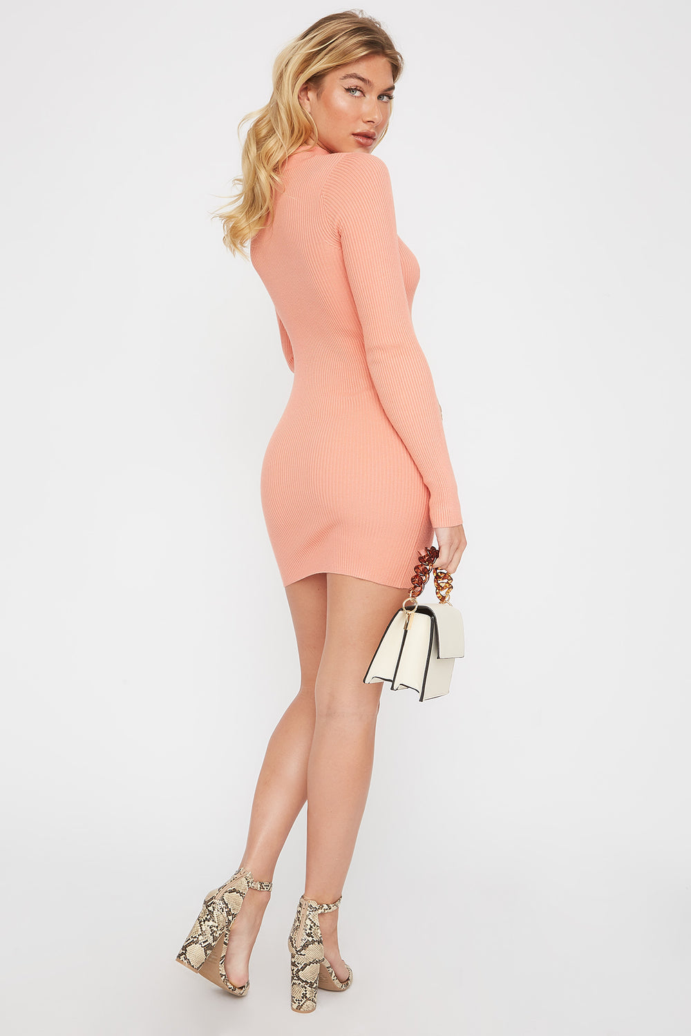 Ribbed Mock Neck Cut Out Sweater Dress Coral