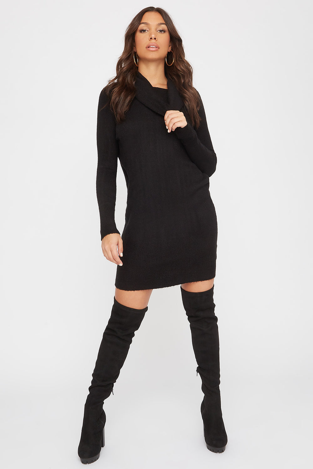 2-Way Mossy Cowl Neck Sweater Dress Black