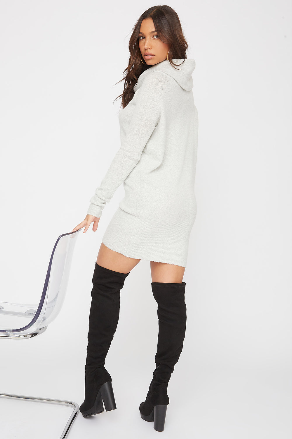 2-Way Mossy Cowl Neck Sweater Dress Heather Grey
