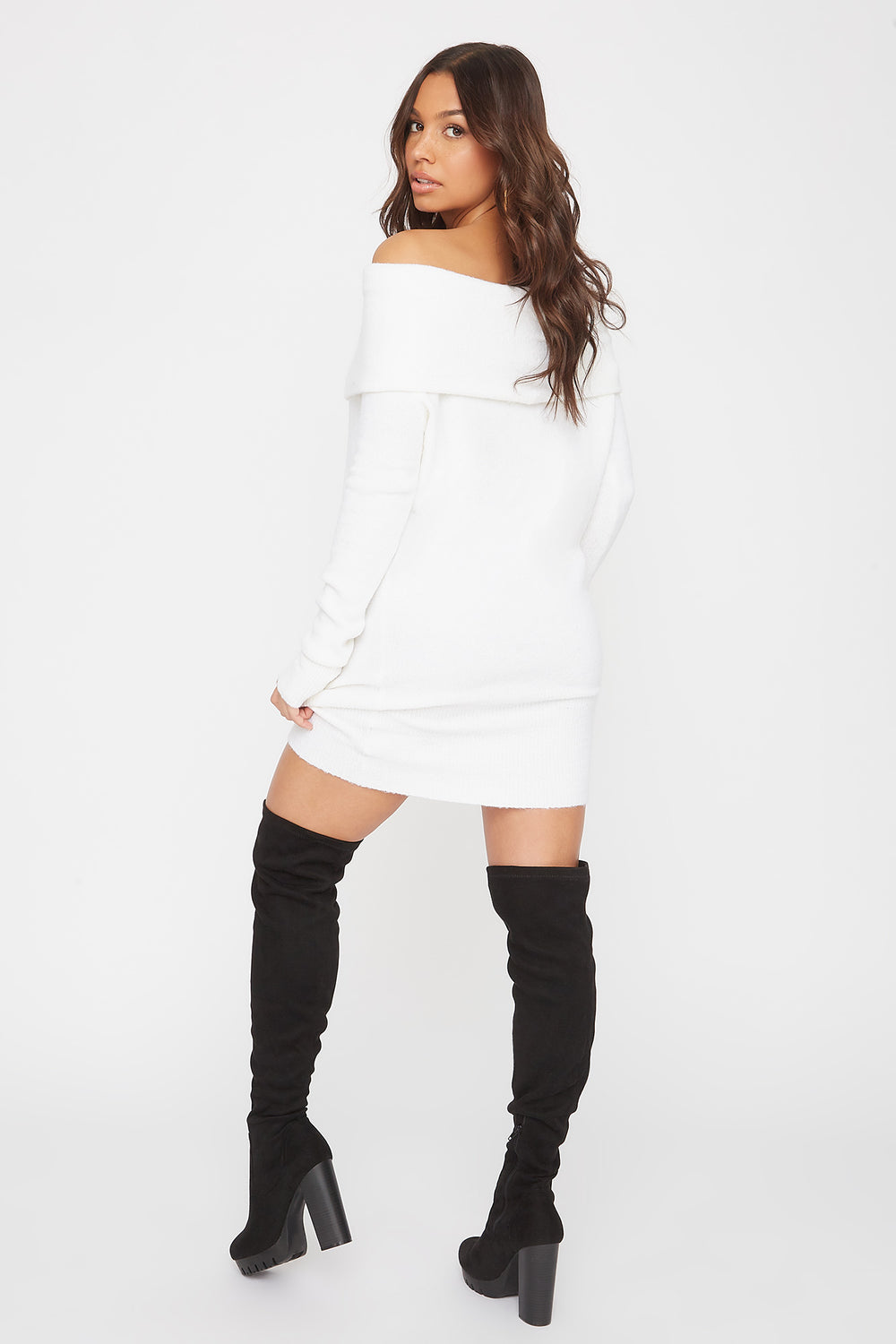 2-Way Mossy Cowl Neck Sweater Dress White