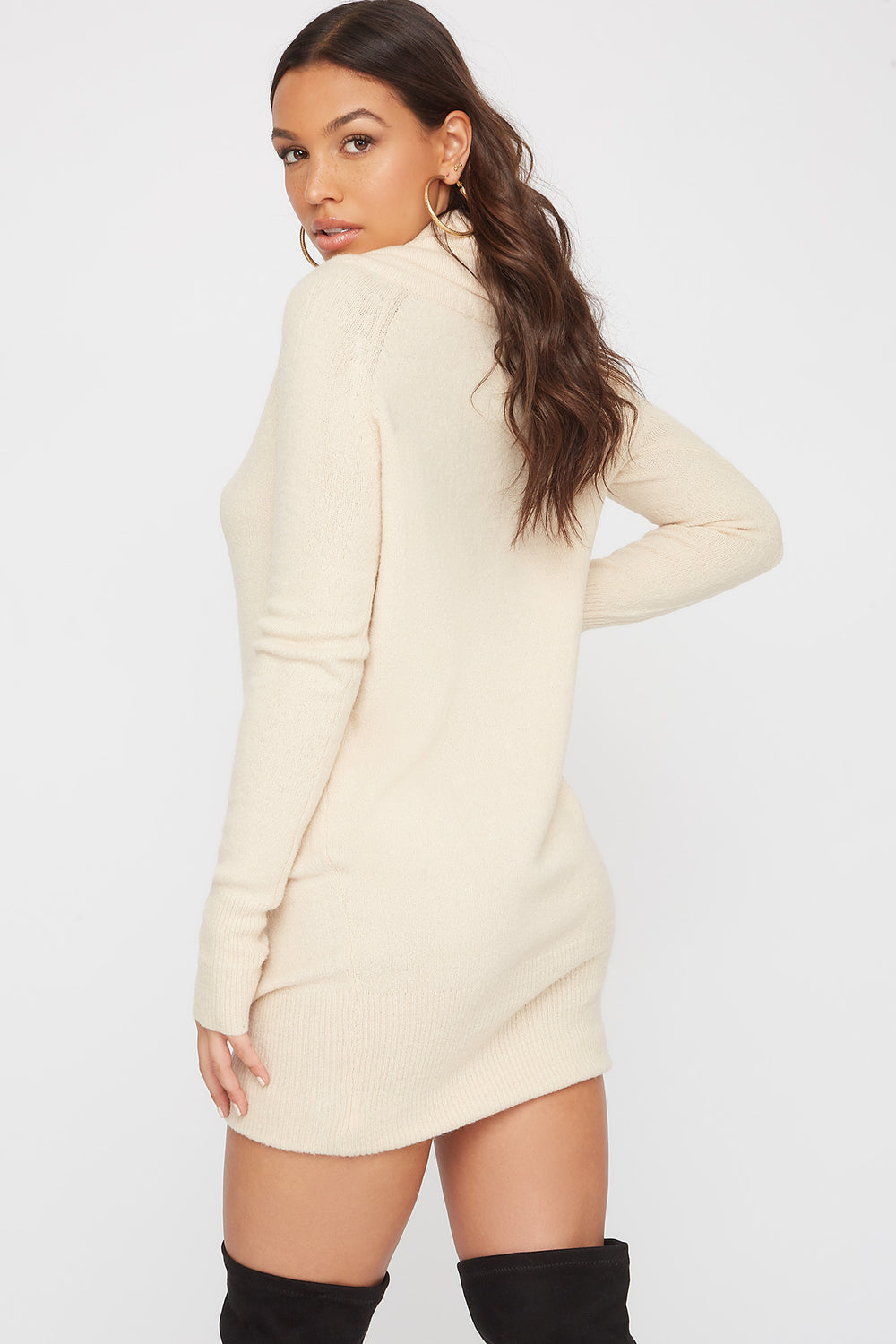 2-Way Mossy Cowl Neck Sweater Dress Oatmeal