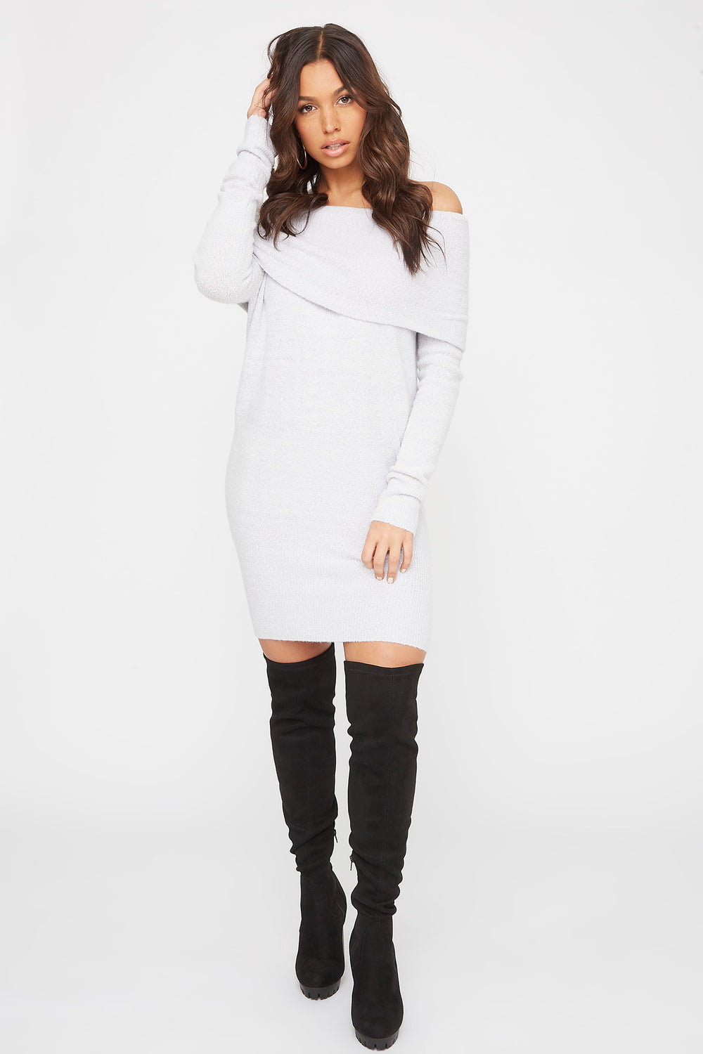 2 Way Mossy Cowl Neck Sweater Dress – Charlotte Russe