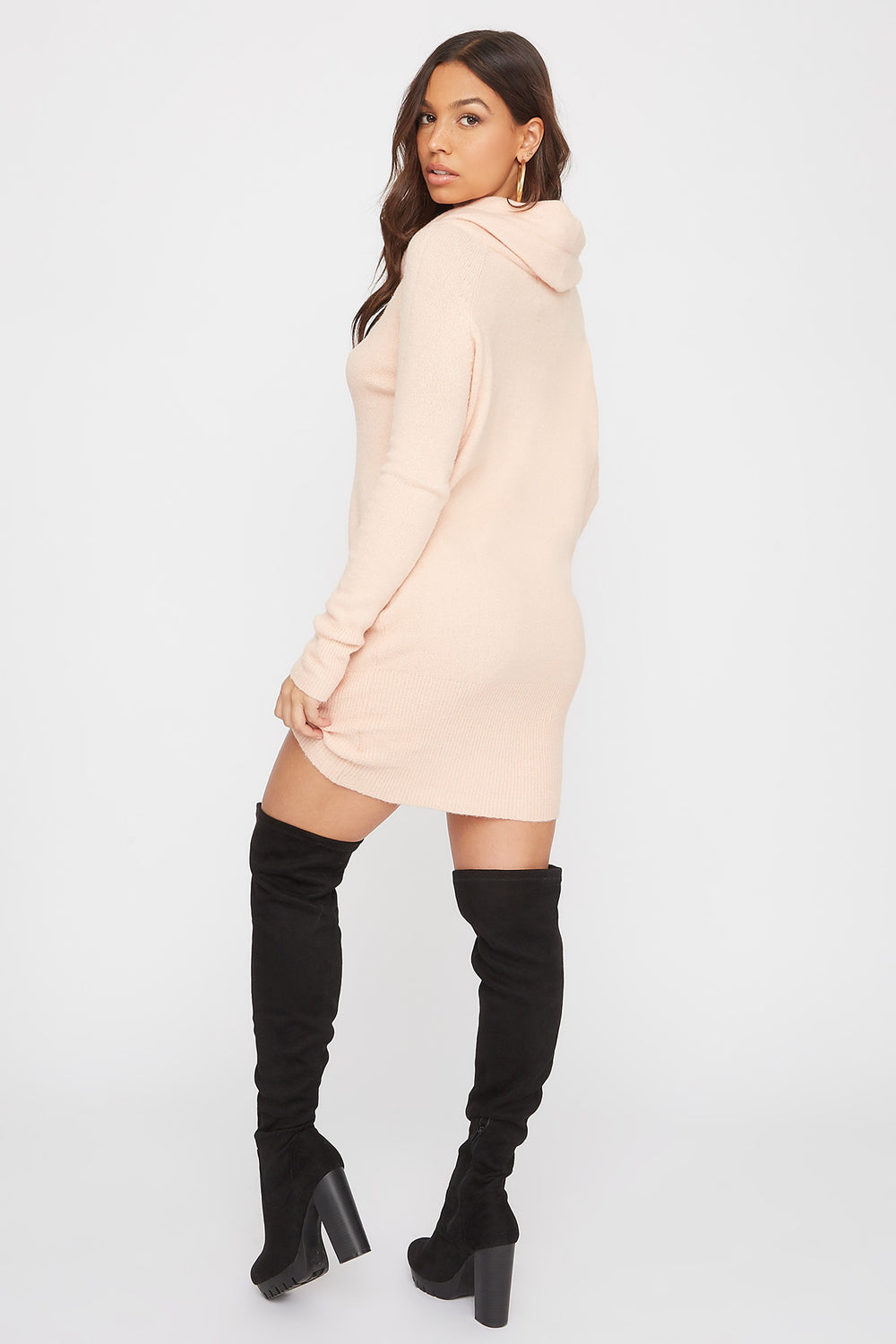 2-Way Mossy Cowl Neck Sweater Dress Dusty Rose