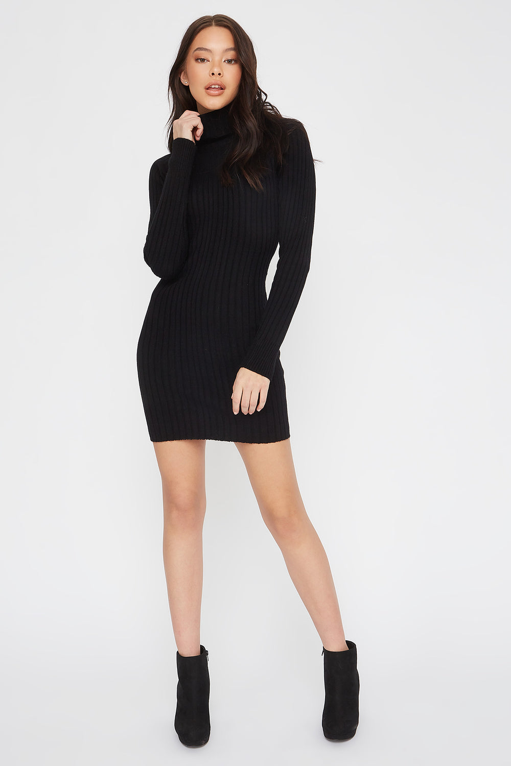 Knit Turtleneck Long Sleeve Mini Dress Black