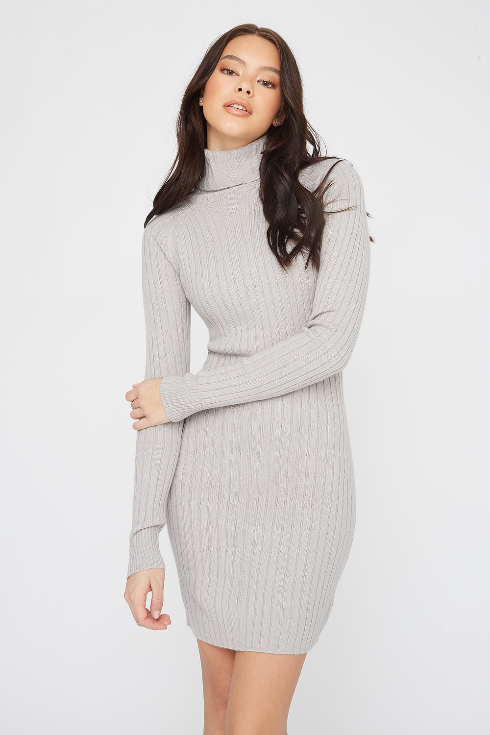 Knit Turtleneck Long Sleeve Mini Dress Heather Grey